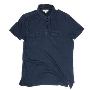 Burberry Navy Blue Slim Fit Military Polo Shirt